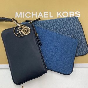 NEW MICHAEL KORS DENIM & LEATHER POUCH TRIO!